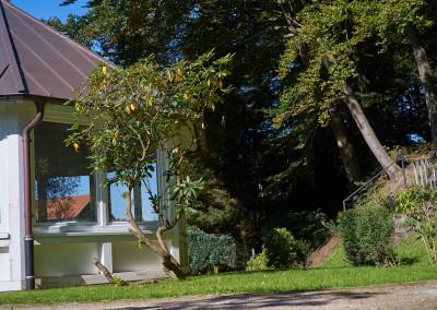 Der Garten mit Gartenhaus und angrenzendem Waldstück